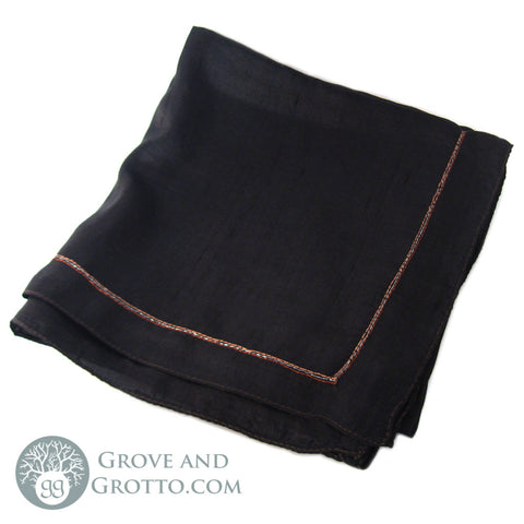 100% Silk Square (Black with Metallic Trim) - Grove and Grotto