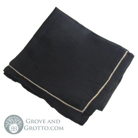 100% Silk Square (Black with Gold)