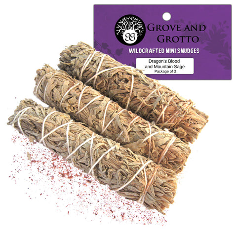 Dragon's Blood and Mountain Sage Smudge (Package of 3) - Grove and Grotto