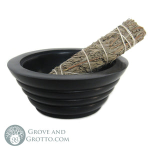 "Black Stone Smudge Pot 5"" - Grove and Grotto"