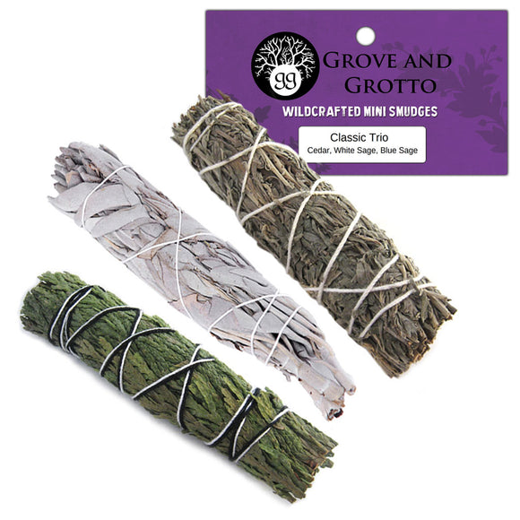 Classic Smudge Trio (Cedar, White Sage, and Blue Sage) - Grove and Grotto