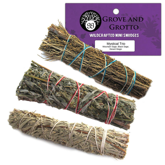 Mystical Smudge Trio (Mountain Sage, Black Sage, and Desert Magic) - Grove and Grotto