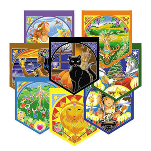 Wheel of the Year Prayer Flags (Set of 8)