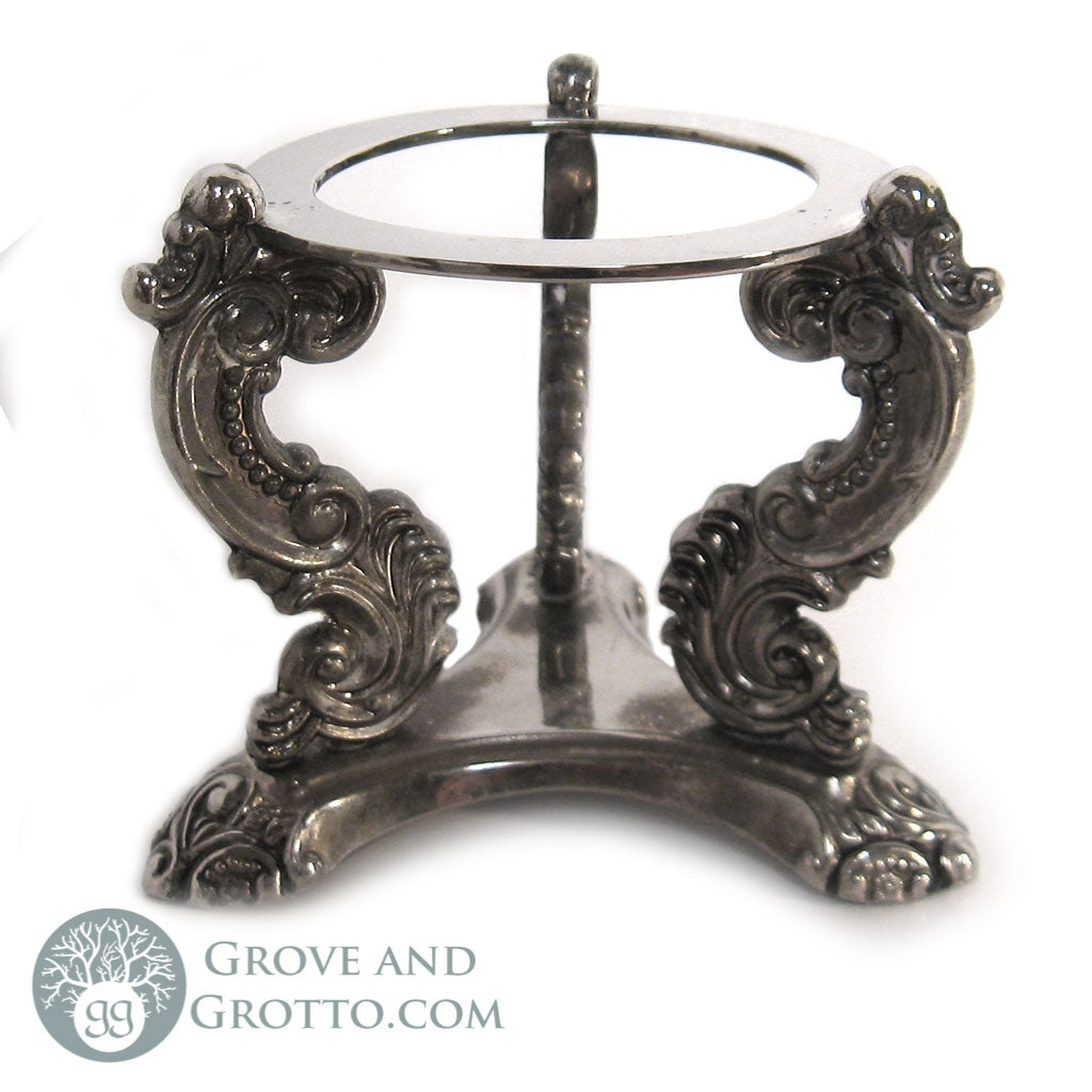 Vintage Silver-Plated Crystal Ball Stand