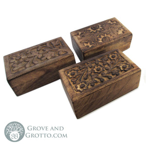 Carved Wood Mini Boxes (Set of 3) - Grove and Grotto