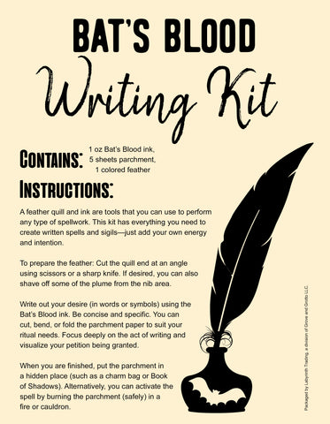Bat's Blood Spell Writing Kit