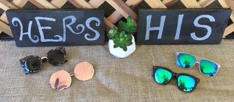 HIS + HERS wood sign set