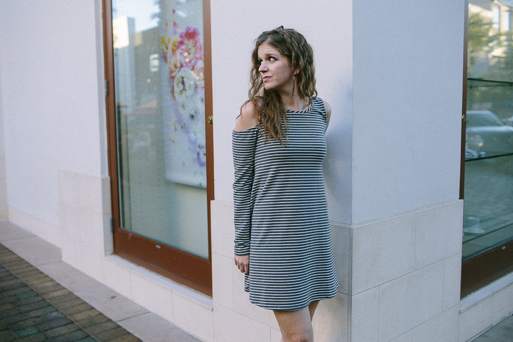 Cold Shoulder Striped Dress
