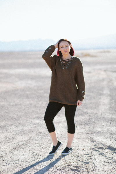 LaLa Lace Up Sweater (3 Colors)