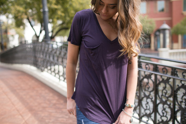 The Micro Modal Pocket Tee // Plum