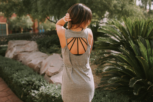 Triblend Twisted Back Cutout Tank Dress (2 Colors)  // Chaser Brand