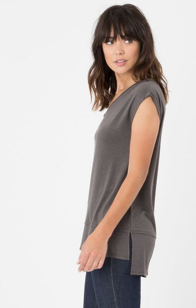 The Mia Linen Tee (Charcoal) // Z.Supply