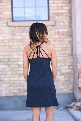 TRIBLEND V NECK POCKET CAMI STRAP HI-LO MINI DRESS // Chaser Brand