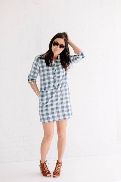 Pocket Check Dress