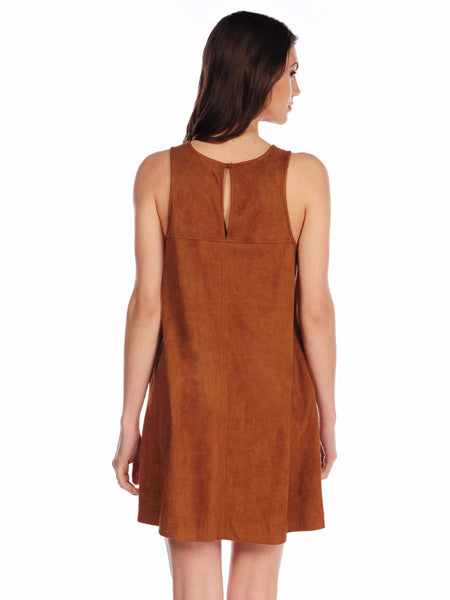 Faux Suede Swing Dress