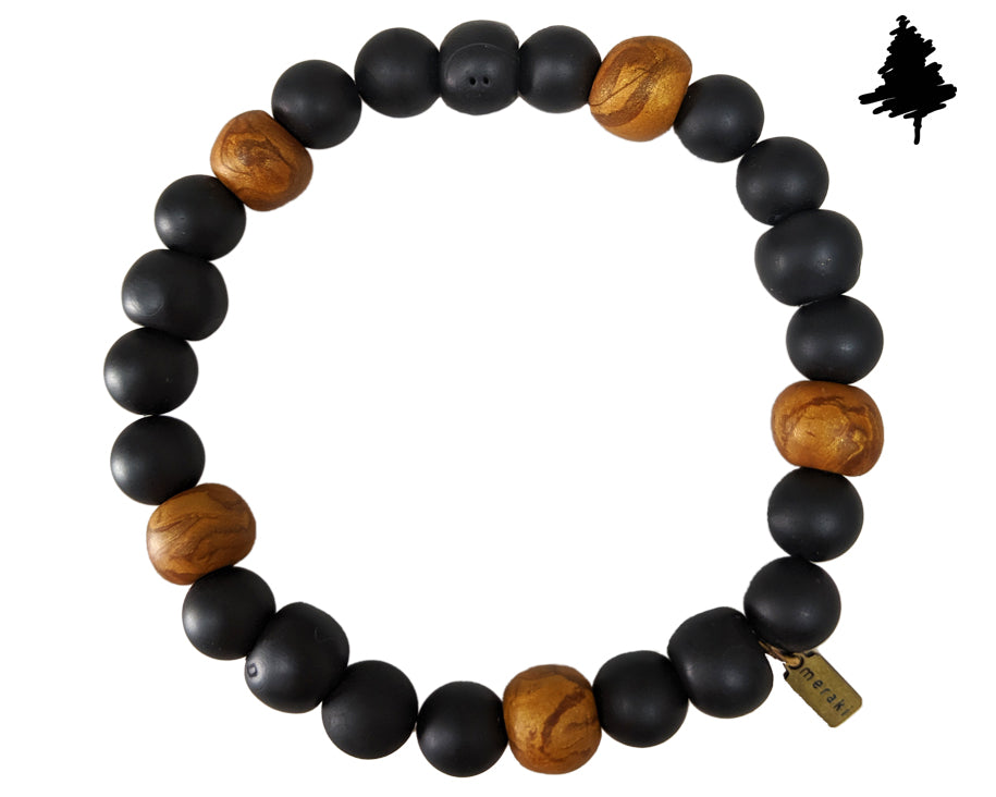 Stretch black and brown bracelet, save the trees bracelet, bracelet for man and women - Meraki Journey