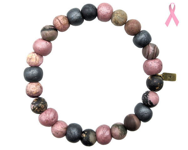 Stretch Bracelet , breast cancer charity, pink bracelet for men and women, Meraki Journey bracelet
