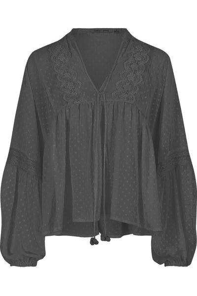 Bishop + Young Swiss Dot Peasant Blouse- Black