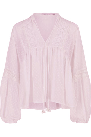 Bishop + Young Swiss Dot Peasant Blouse- Lilac