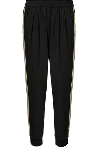 B+Y Regular Designer Stripe Jogger Pant- Black
