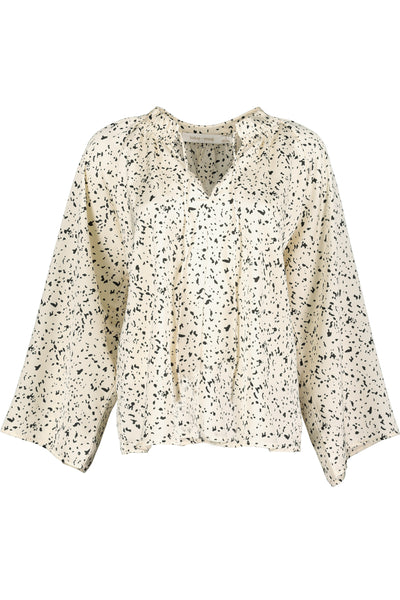B+Y Satin Willow Blouse- white animal