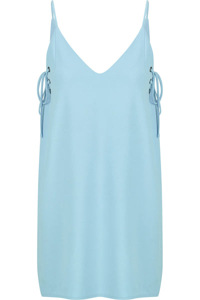 Ana Lace Up Dress- Blue