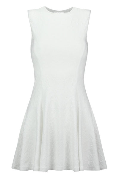 Fit & Flare Textured Dress White - Bishop and Young