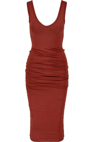 Alba Midi Dress Rust