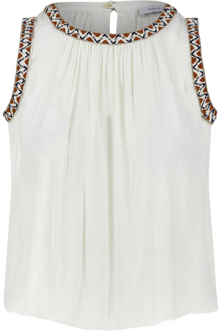 Beaded Embroidered Trim Tank