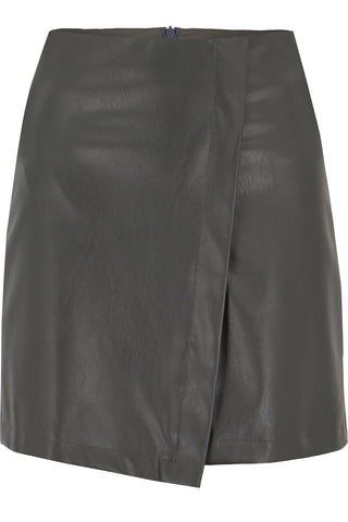 Vegan Leather Wrap Skirt