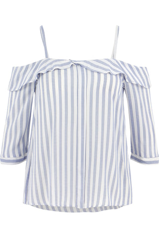 Kelly Stripe Front Placket Off Shoulder
