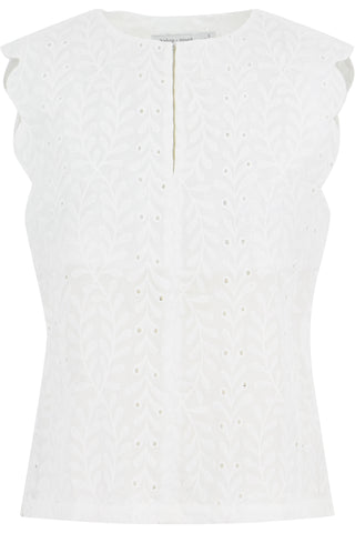Scallop Trim Eyelet Top