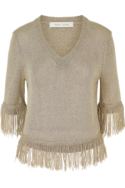 V-neck Fringe Sweater