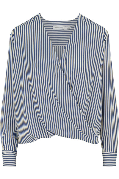Twist Front Striped Blouse
