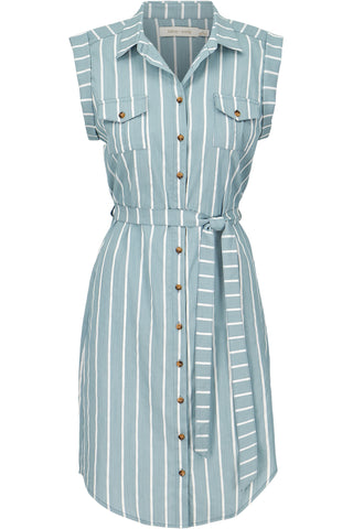 Striped Button Front Dress