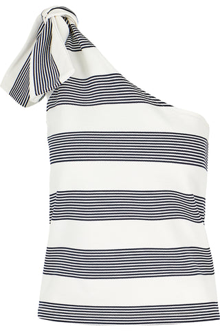 The Navy Stripe One Shoulder Top