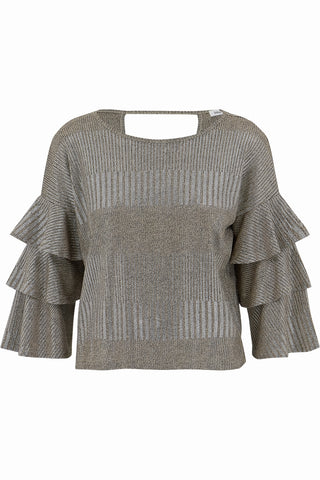Metallic Ruffle Top