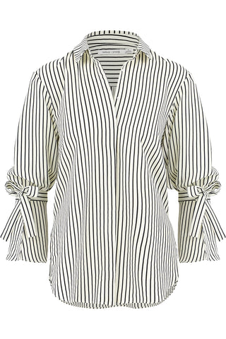Stripe Tie Sleeve Blouse