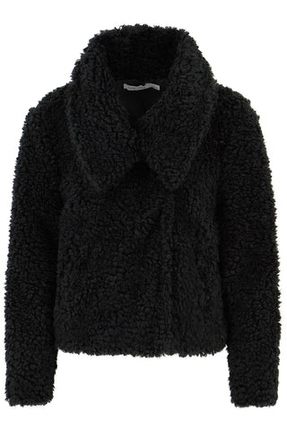 Cropped Faux Fur Jacket- Black