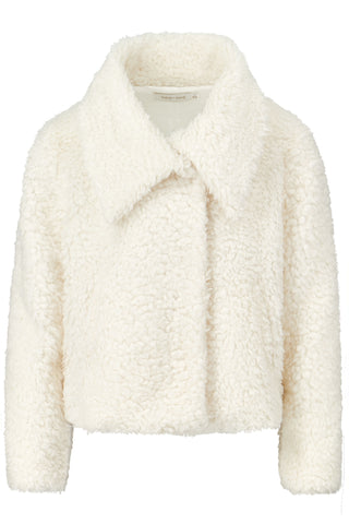 Cropped Faux Fur Jacket- Ivory