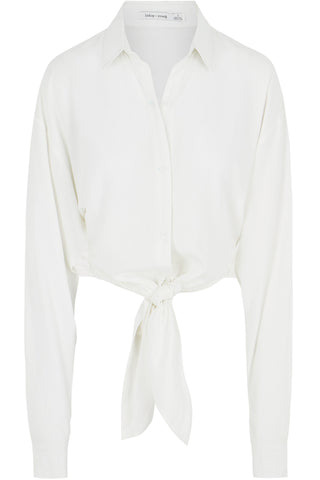 Button Front Tie Waist Blouse