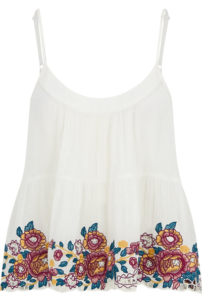 Embroidered Trim Tank