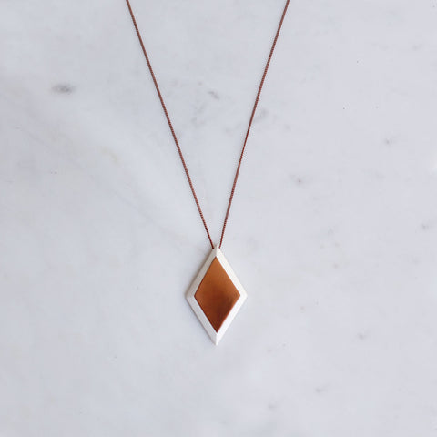 Copper Diamond Pendant Necklace
