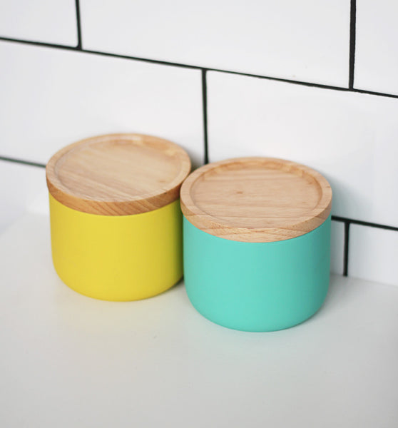 Teal Ceramic Canister Small
