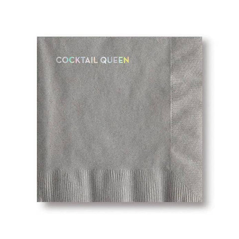 Sapling Press - #620: Cocktail Queen Napkins (Gray With Holographic Foil)