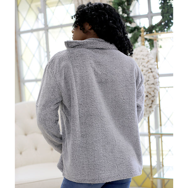 Alpine Side Quarter Zip Pullover- Light Gray