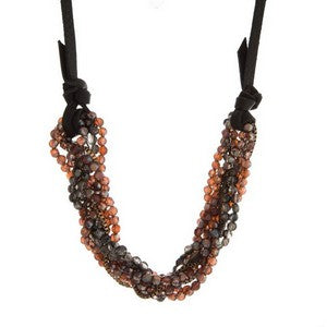 Tarin Twisted Beaded Layers on a Genuine Leather Adjustable Necklace