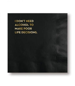 Sapling Press - #597: Life Decisions Napkins (Black With Gold Foil)