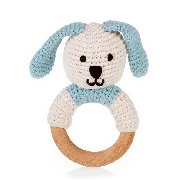 Pebble - Organic Wooden Teething Ring Bunny - Pink/Blue