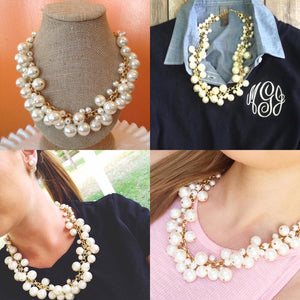 Molly Necklace, Classic Pearl in Silver or Gold Tone